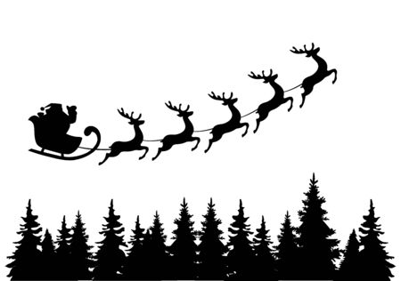 night suit: vector illustration of Santa Claus flying with deer over trees Illustration