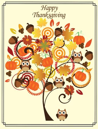 scroll design: vector illustration of a thanksgiving day card with tree, owls, pumpkins
