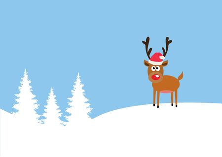 red nose: vector illustration of a funny red nose reindeer Christmas background
