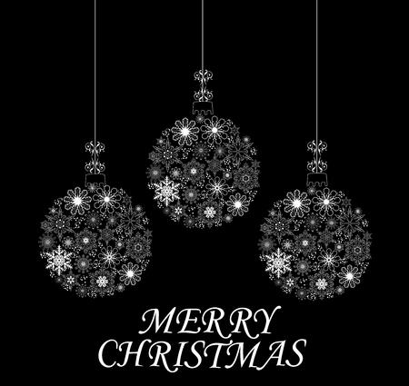 precipitation: vector illustration of a Christmas card with snowflake balls Illustration
