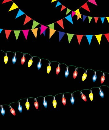 vector illustration of Christmas lights holiday background