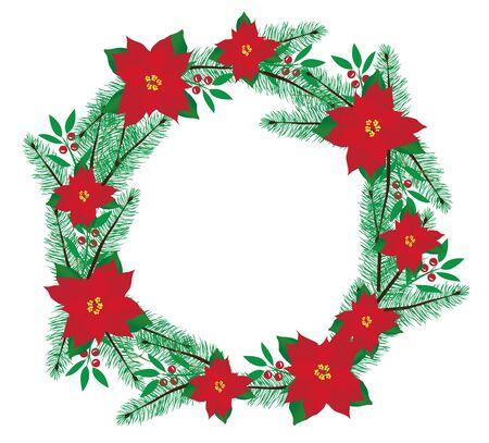 new plant: vector illustration of Christmas wreath with poinsettias