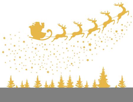 santa sleigh: vector illustration of Santa Claus flying with deer Christmas design