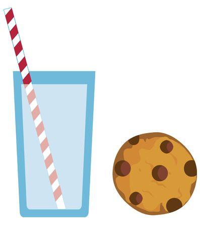 envase de leche: ilustración vectorial de galletas y diseño de cartón de leche
