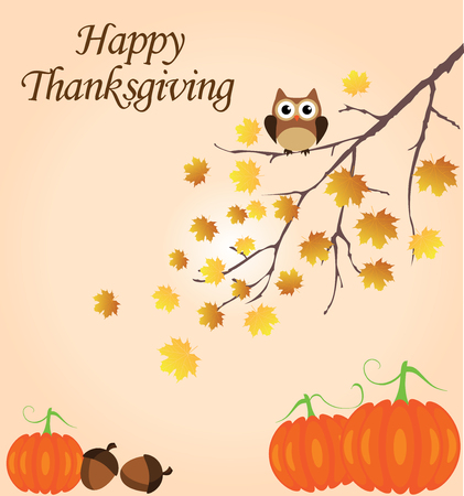 vector illustration of thanksgiving background with pumpkins, acorns, owl in the fall tree