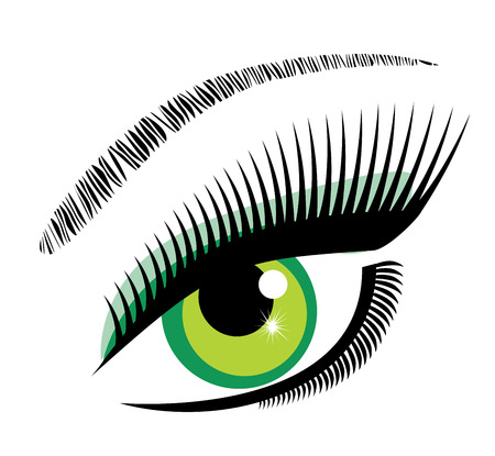 lashes: illustration of an eye with long lashes and make up Illustration