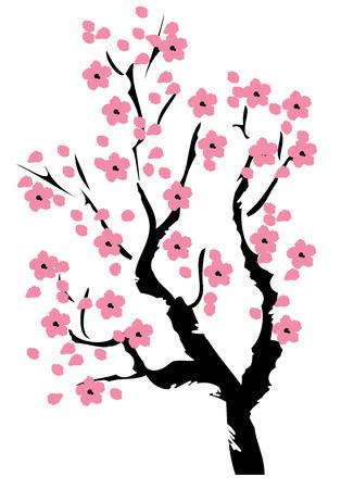 Ilustración vectorial del árbol de cerezo en flor Foto de archivo - 69054473
