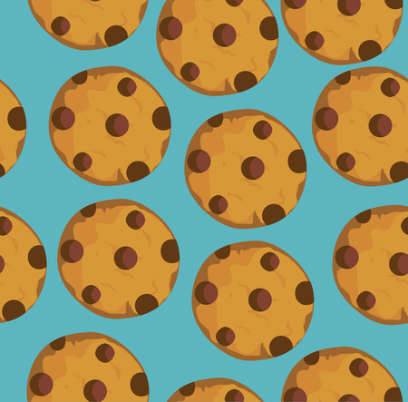 vector illustration of seamless chocolate chip cookies background Illustration