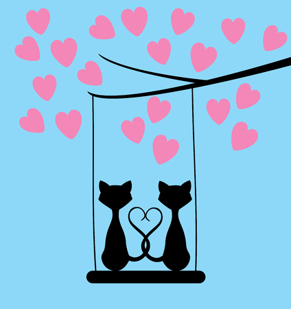 dating and romance: vector illustration of cats valentine background with pink hearts