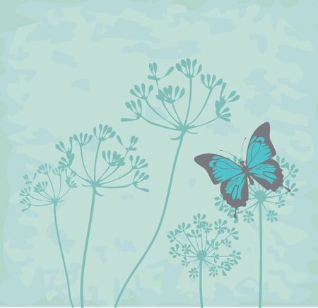 vector illustration of vintage butterflies and fennel herbs background