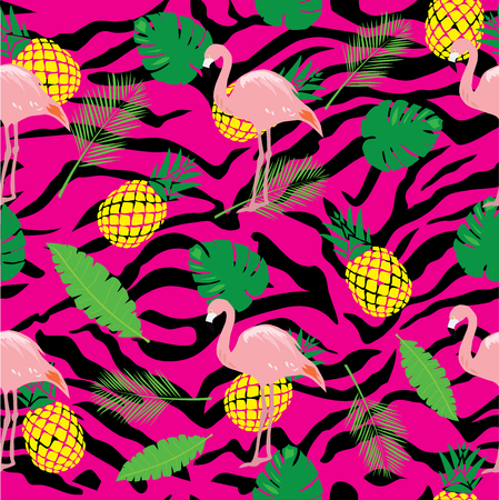 vector illustration of seamless flamingo background with palm leaves, pineapple