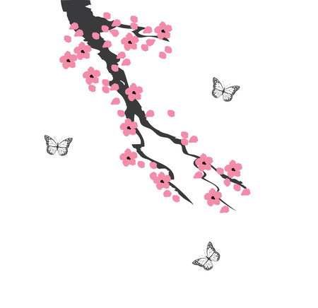 vector illustration of cherry blossom branch with butterflies
