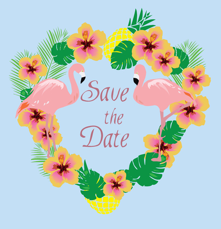 tropical flowers: vector illustration of a wedding invitation with flamingo, tropical flowers, leaves
