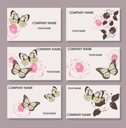 vector illustration of business card set with vintage roses and butterflies Фото со стока - 70667633