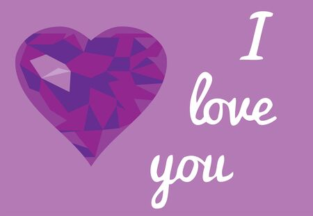 vector illustration of valentine card with purple mosaic heart and love you text