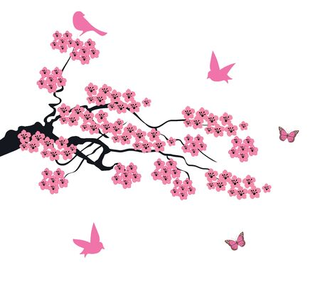 cherry tree: vector illustration of cherry blossom with birds