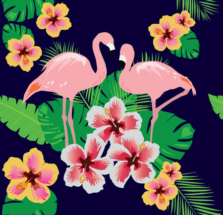 couple in summer: vector illustration of tropical background with birds, flowers