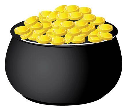 stpatrick: vector illustration of a pot full of gold St.Patrick day Irish symbol