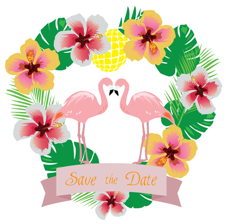 couple in summer: vector illustration of wedding invitation with tropical flowers, flamingos
