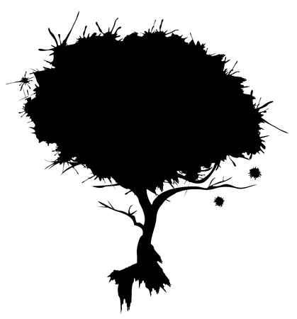 vector illustration of an abstract tree with ink spots Ilustração