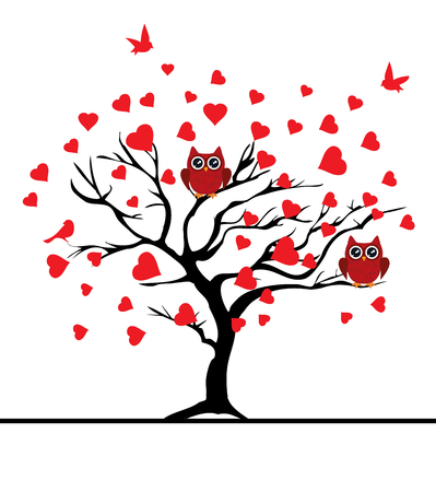 tree texture: vector illustration of a valentine tree with red hearts, red birds, red owls Illustration