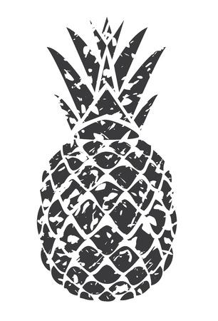 vector illustratie van een grunge-ananas op een witte achtergrond