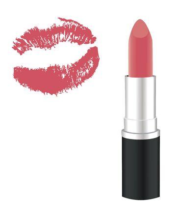 vector illustration of lipstick and pink lips kiss Çizim