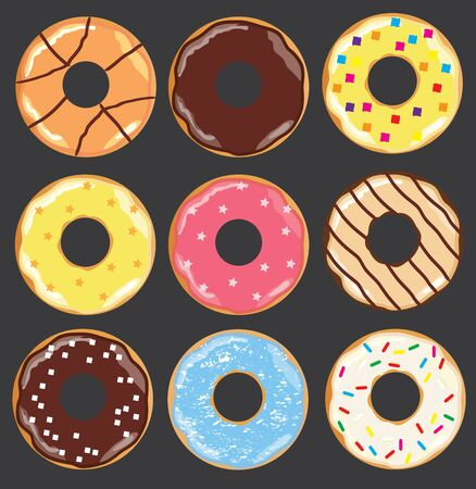 vector illustration of different donuts isolated