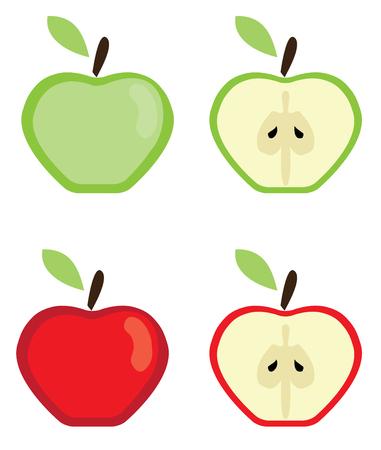 Vector illustratie van rode en groene appels Stockfoto - 72169592