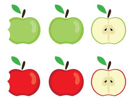 赤と緑のリンゴのベクトル イラスト  イラスト・ベクター素材
