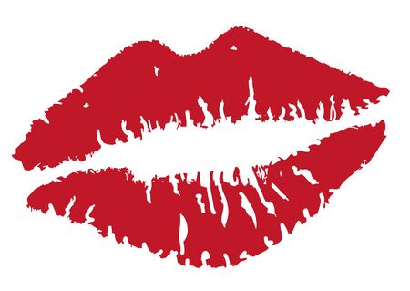 vector illustration of lipstick kisses isolated on white background Çizim