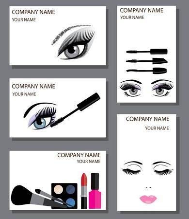 vector illustration of a set of make up artist cards. mascara, eyes with long lashes, lipstick, eye shadows