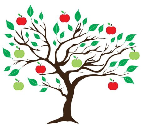 vector illustration of an apple tree with red and green apples Illusztráció