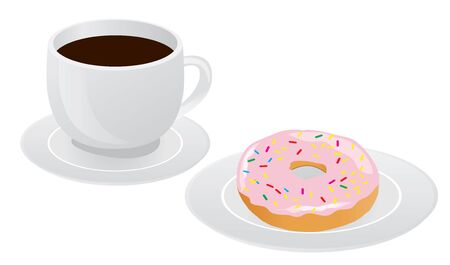vector illustration of cup of coffee and donut. breakfast background