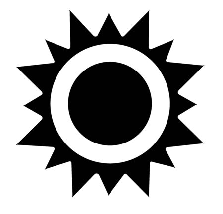 vector illustration of a sun icon black and white Иллюстрация