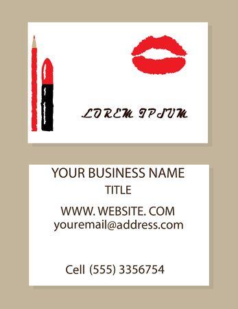 vector illustration of a make up artist business card