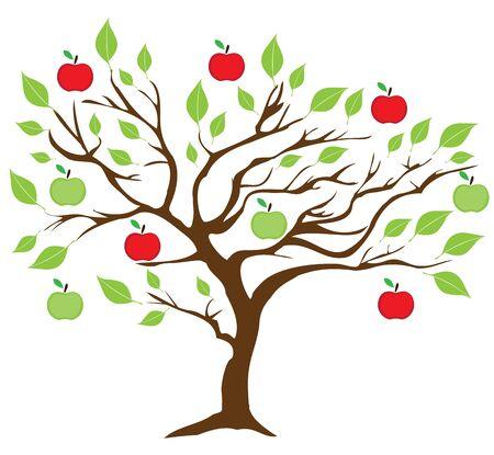 緑と赤のリンゴを持つリンゴの木のベクトルイラスト