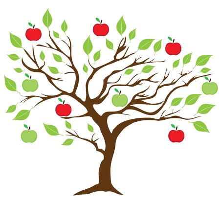vector illustration of an apple tree with green and red apples Иллюстрация