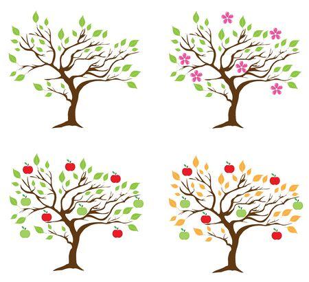 Vector illustratie van vier seizoen appelbomen.