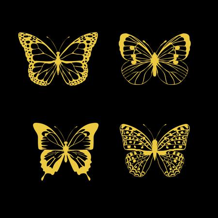 Illustration of four golden butterflies.