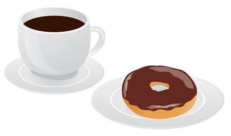 Illustration of coffee cup with donut, coffee break, breakfast meal, fast food snack, cartoon design isolated on white background. Ilustração