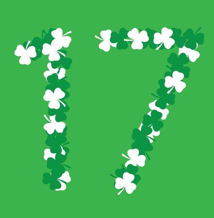 Illustration of shamrock number seventeen for St.Patrick day March 17, Irish symbol.