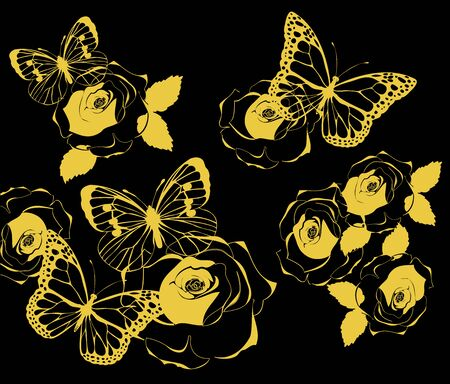 marcos decorativos: Illustration of golden butterflies and roses vintage background.