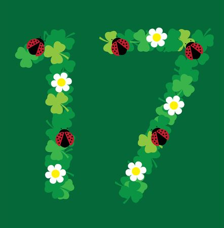 Illustration of shamrock number seventeen for St.Patrick day March 17, Irish symbol.