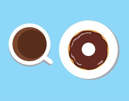 Vektorillustration der Kaffeetasse mit Donut, Kaffeepause, Frühstücksmahlzeit, Schnellimbissimbiß auf der Platte lokalisiert auf weißem Hintergrund Standard-Bild - 74003767