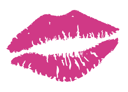 vector illustration of a pink lipstick kiss
