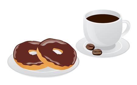 Vektor-Illustration der Kaffeetasse mit Donut, Kaffeepause, Frühstück Mahlzeit, Fast-Food-Snack auf Platte isoliert auf weißem Hintergrund Standard-Bild - 73941773