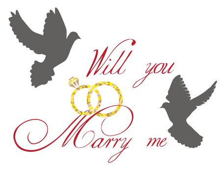 vector illustration of a wedding card with doves and golden rings Illustration