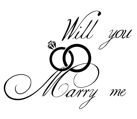 vector illustration of a marry me card with wedding rings
