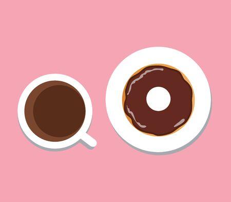 Vektorillustration der Kaffeetasse mit Donut, Kaffeepause, Frühstücksmahlzeit, Schnellimbissimbiß auf der Platte lokalisiert auf weißem Hintergrund. flaches Design. Standard-Bild - 74715564
